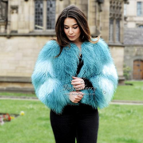 DMGA158B Sky Blue and White Mongolia Lamb Fur Coat