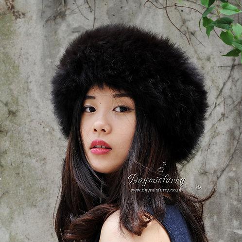 DME17F  Fox Fur Headband / Fur Scarf in Dark Brown