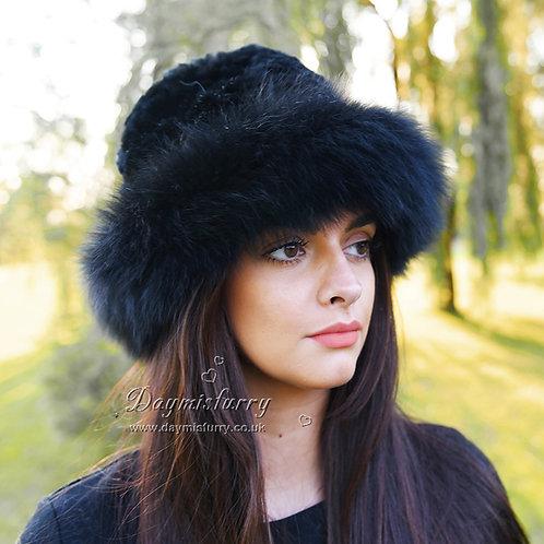 DMC02A  Fox Fur Roller Hat with Rex Rabbit Fur Top