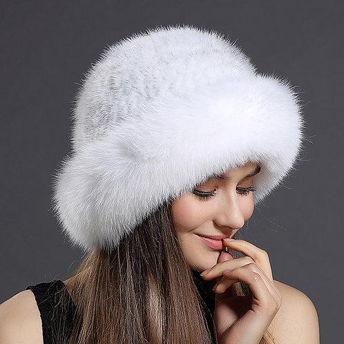 DMC209E Fox Fur Roller Hat with Mink Top