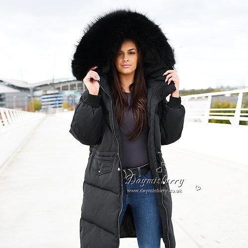 DMGD05A Black  Down Jacket With Raccoon Fur Trim