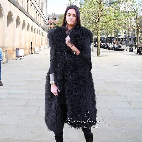 DMGB127C Black Mongolia Lamb Fur Gilet Long Vest