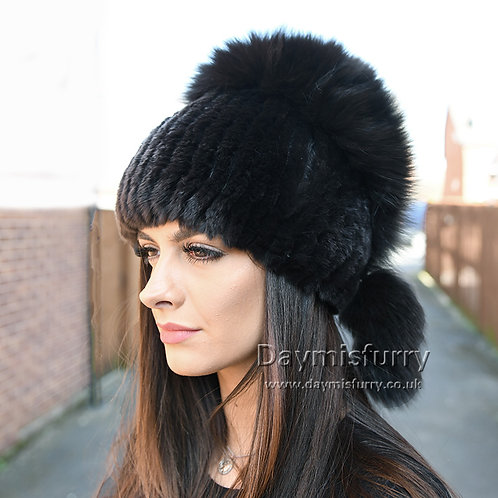 DMC116B  Rex Rabbit Fur Winter Hat With Fox Fur Top - Black