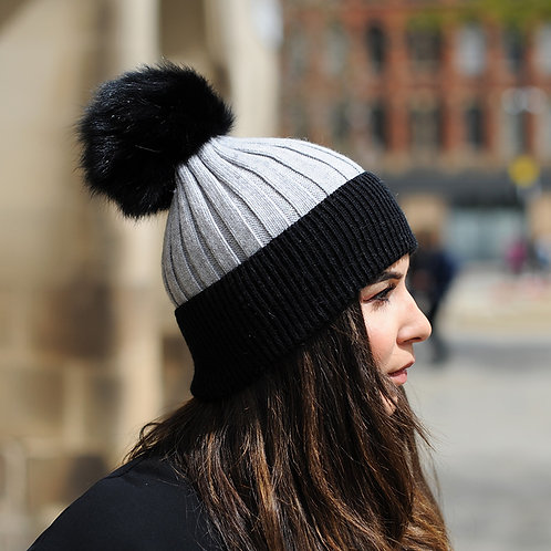 DMC45H  Wool Beanie Hat With Raccoon Fur Pom Pom