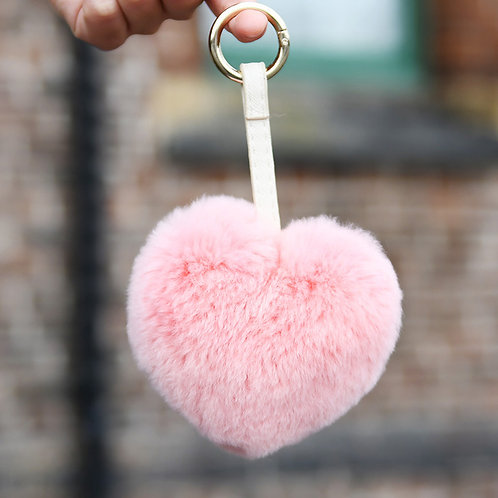 DMR46A Rex Rabbit Fur  Love Heart Bag Charm In Baby Pink