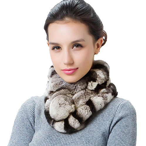 DMS15F Rex Rabbit Fur Scarf - Perfect for Winter Style