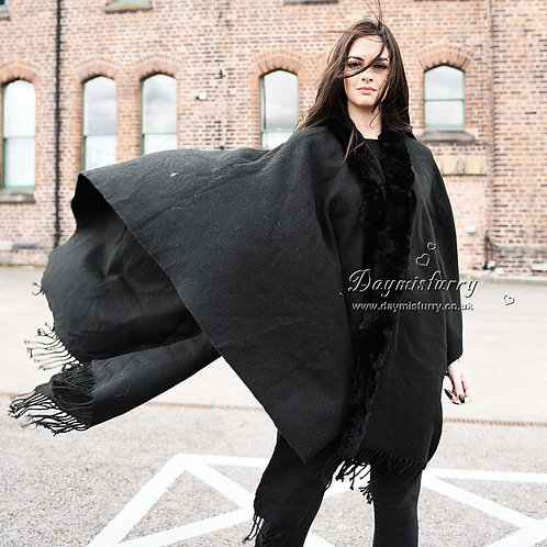 DMBP02B Large Black Cashmere-like Cape with Rex Rabbit Fur Trim