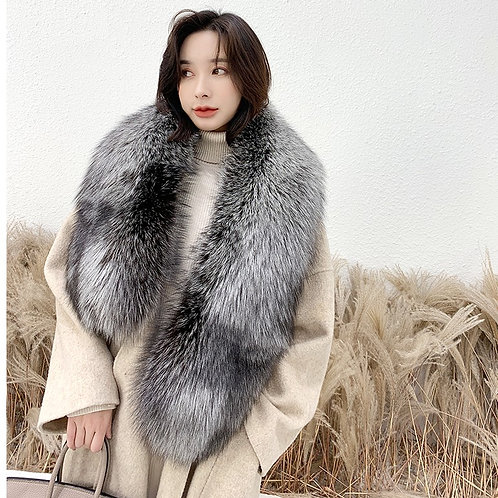 DMA01 Large Silver Fox Fur Scarf Collar