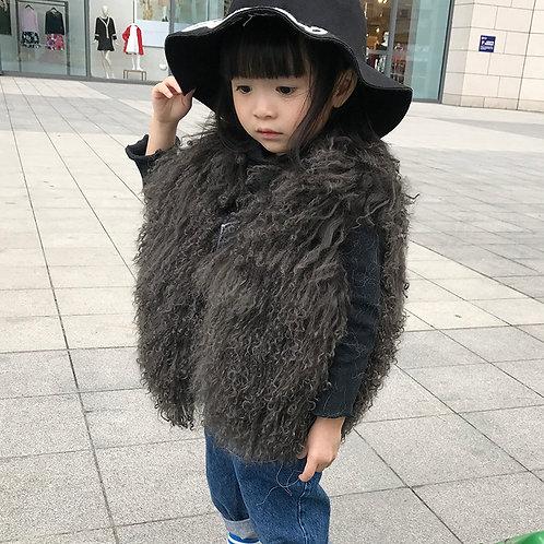 DMGC07B  Brown Mongolian Lamb Kid's Gilet