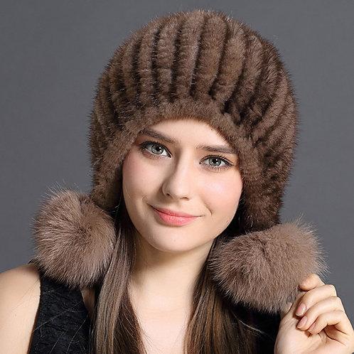 DMC131 Knit Mink Fur Beanie With Fox Fur Pom