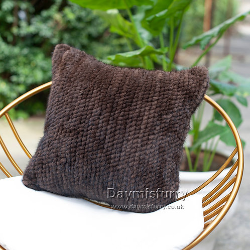 DMD122A Double sided Knit  Mink Fur Pillow Case - Chocolate