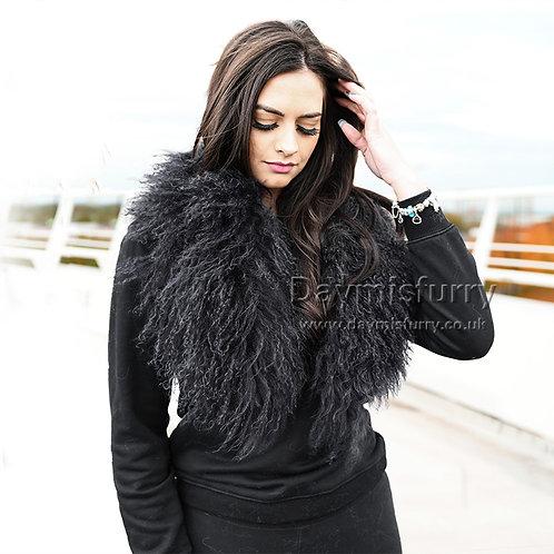 DMA52A Detachable Mongolian Lamb Fur Collar - Black