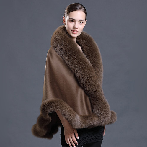 DMBP39F Cashmere Blanket Scarf for Women with Fox Fur Trim