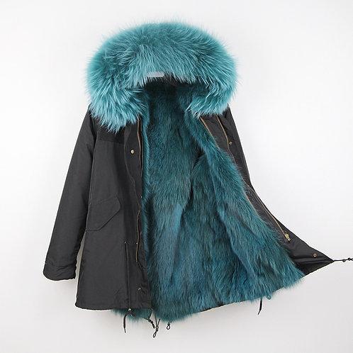 DMGP12D AW18 Dyed Fox Fur Lined Military Parka with Raccoon Fur Hood