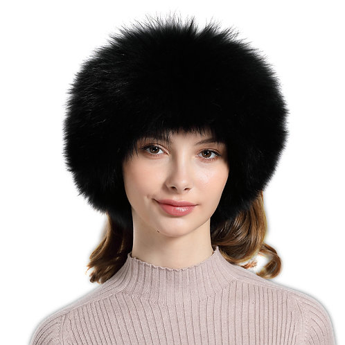 DME17 Fox Fur Headbands / Fur Scarf  In Black