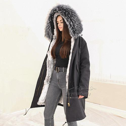 DMGP35Q Rabbit Fur Parka Jacket with Raccoon Fur Collar - Long Parka