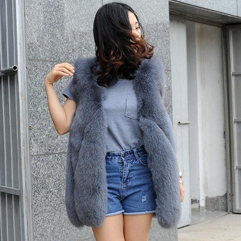 DMGB15F Fox Fur Horizontal Design Lady Gilet In Grey