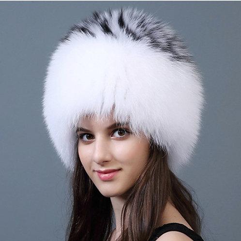 DMC215C Knit Finn Black and White Fox Fur Hat