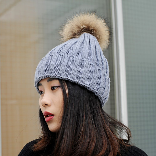 DMC237F Knit Beanie With Finn Raccoon Pom Pom