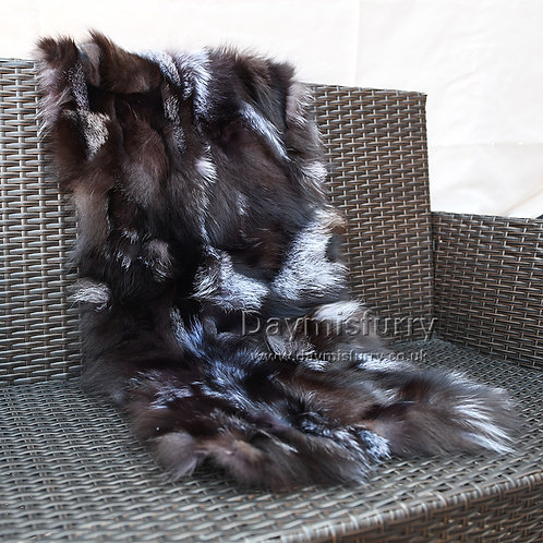DMD49A Silver Indigo Fox Fur Rug / Sofa Throw