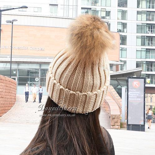 DMC237B Raccoon Fur Pom Pom Beannie Hats