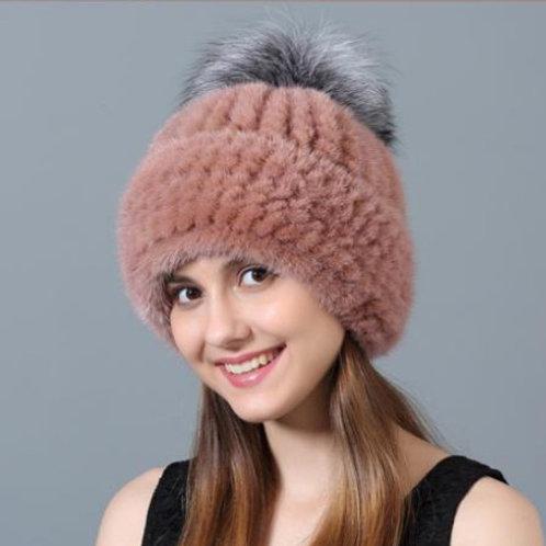 DMC239T Knit  Mink Fur Hat With Silver Fox Fur Pom