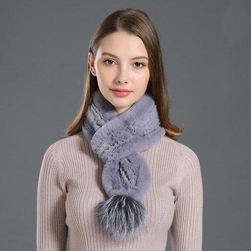 DMS03B Rex Rabbit Fur Knit Scarf With Fox Fur Ball