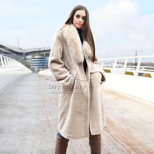 DMGT14B  Teddy Wool Jacket Winter Jacket WIth Fox Fur Collar
