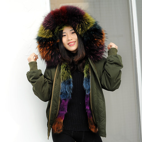 DMGP19M Waterproof Bomber With Fox Fur Lining And Raccoon Fur