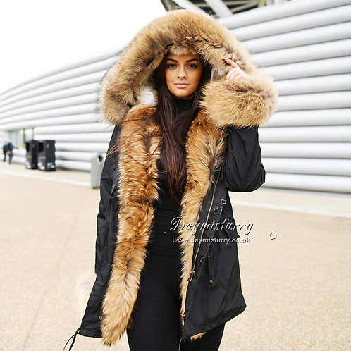 DMGP21C Rabbit Fur Lined Parka With Raccoon Fur Trim and Cuff