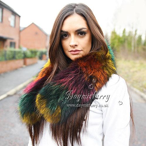 DMA76F Large Detachable Colorful Finest Raccoon Fur Parka Collar