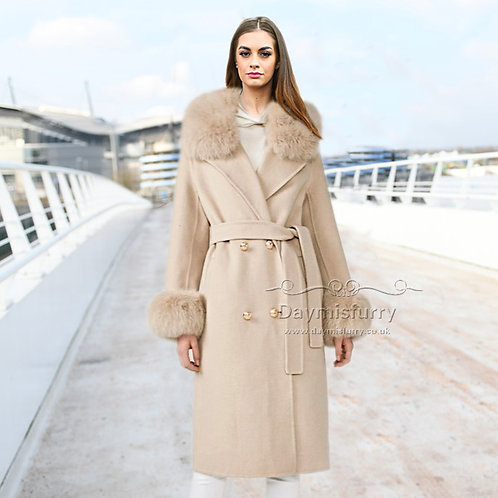 DMGT20C Cashmere Wool Coat With Fur Collar And Fur Cuffs