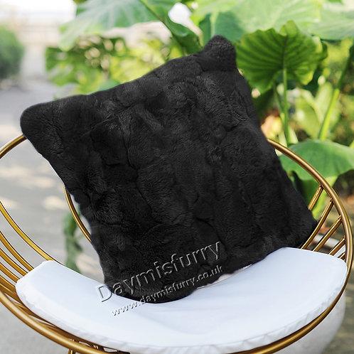 DMD22K Dyed Rex Rabbit Fur Pillow Cover / Cushion Cover - Black