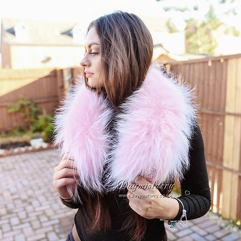 DMA76M Wide Raccoon Fur Collar Stole Shoulder Wrap in Pink