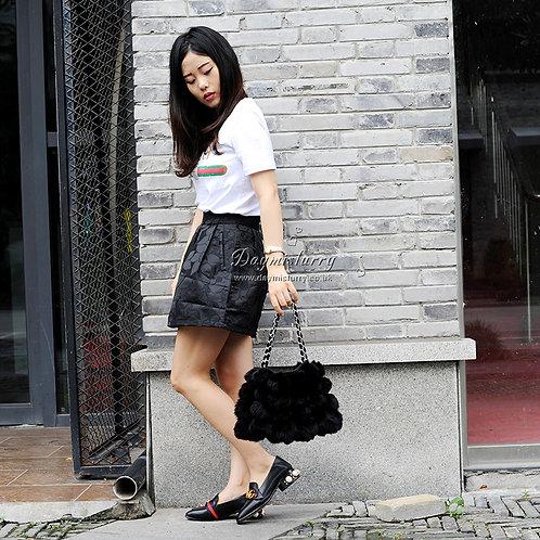 DMH11C Rabbit Fur Ball Lady Hand Bag In Black