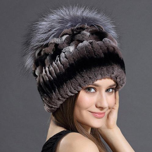 DMC203B  Rex Rabbit Fur Hats With Fox Fur Top
