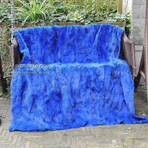 DMD11F Royal Blue Patchwork Rabbit Fur Blanket / Throw