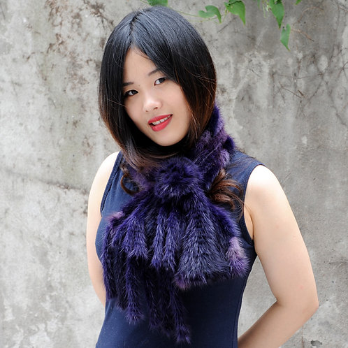 DMS124B Handmade Mink Fur Scarf With Mink Fur Tails In Dark Purple