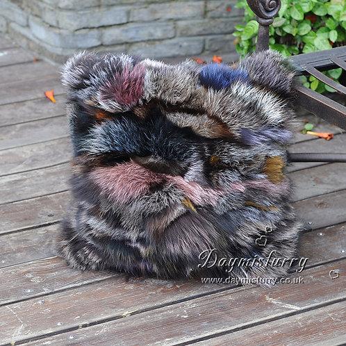 DMD107F Multi Color Fox Fur Pillow