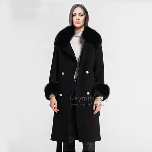 DMGT20D Wool Cashmere Long Coat With Fur Collar And Cuffs