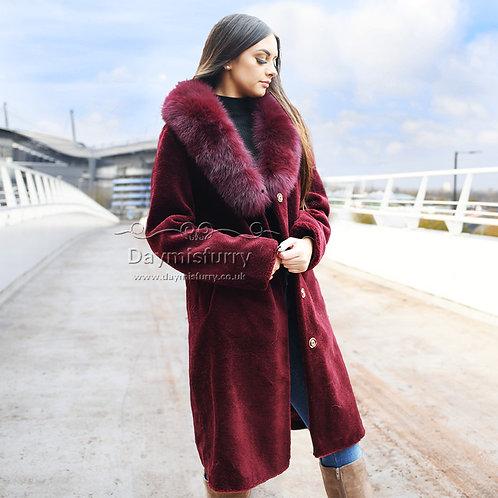 DMGT14C Fleece Coat With Fox Fur Collar