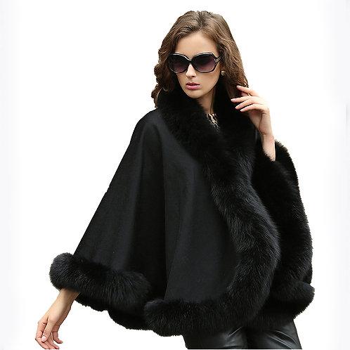 DMBP54B  Black Cashmere Cape with  Fox Fur Trim