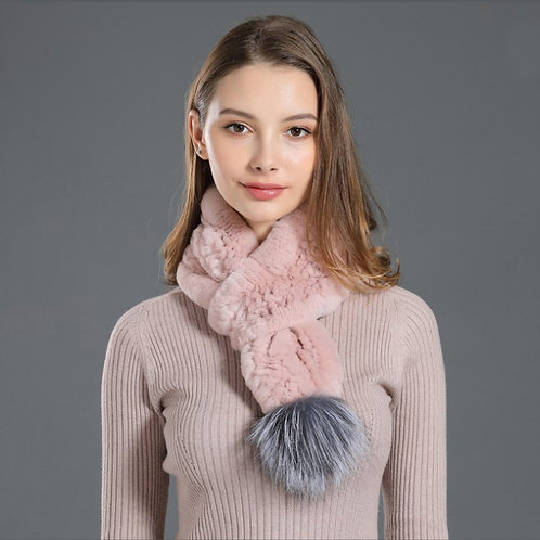 DMS03F  New Knitted Rex Rabbit Fur Scarves