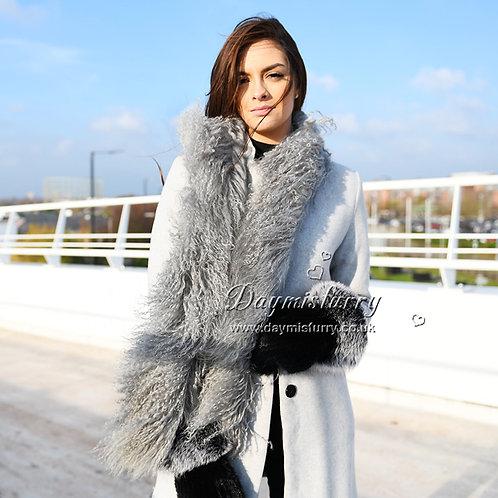 DMS108M Mongolia Lamb Fur Scarf in Grey