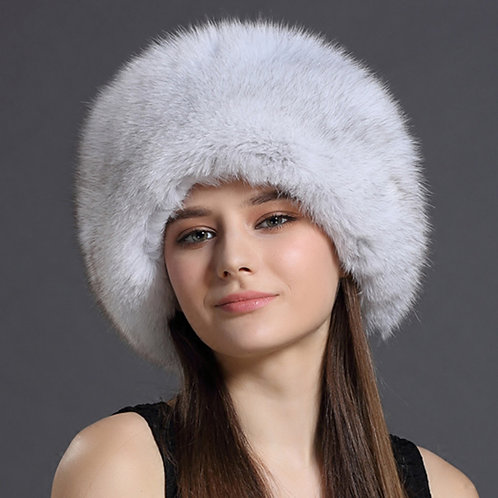 DMC77A Fox Fur Roller Hat with Leather Top