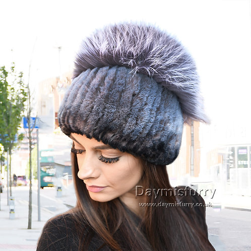 DMC84E  Rex Rabbit Fur Hat With Fox Fur Top