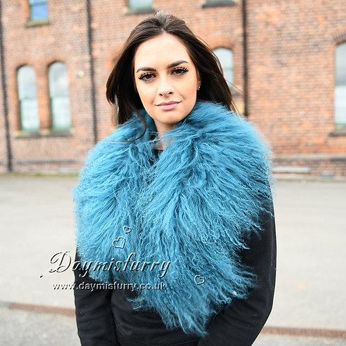 DMA52F Detachable Mongolian Lamb Fur Collar In Blue