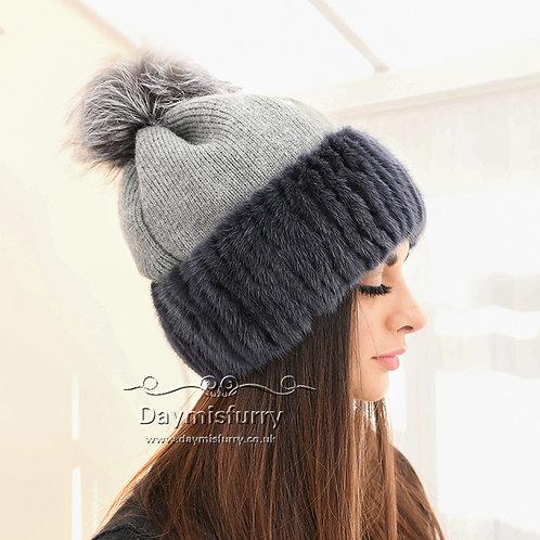 DMC22  Cashmere Knit Hat  With Mink Fur Trim & Fox Fur PomPom