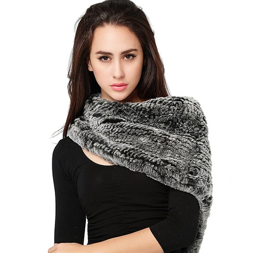 DMS106H Knitted Rex Rabbit Fur Shawl