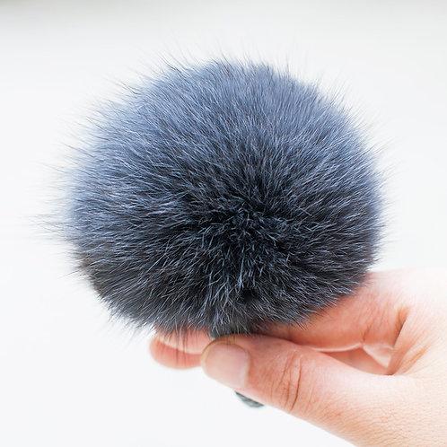 DME03E Fox Fur Pom Pom Hair Scrunchie